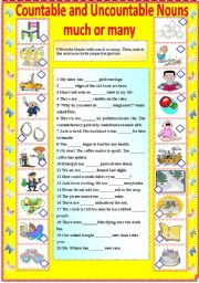 English Worksheet: COUNTABLE AND UNCOUNTABLE NOUNS - MUCH AND MANY (B/W VERSION AND ANSWER KEY)