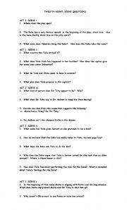 English Worksheets: Twelfth Night Study Guide Questions