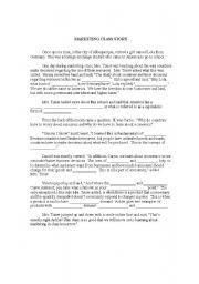 English Worksheets: Marketing Classs Story