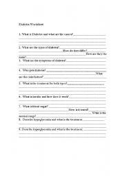 English Worksheets: Diabetes Worksheet
