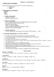 English Worksheet: WRITING A COMPOSITION