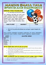 English Worksheet: Sports and equipment - speaking practice