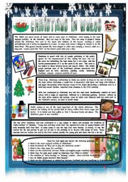 English Worksheet: CHRISTMAS AROUND THE WORLD - PART 6 - WALES (B&W VERSION INCLUDED) - READING COMPREHENSION