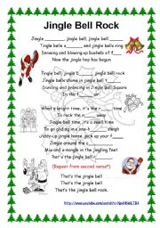 English Worksheet: Jingle bell song- Lyrics + youtube link