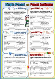 English Worksheets: PRESENT SIMPLE VS PRESENT CONTINUOUS-  A COMPLETE REVISION- *AFFIRMATIVE**NEGATIVE* *INTERROGATIVE * and *SHORT ANSWERS*.