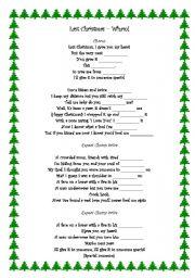 worksheet: Last Christmas - Wham!
