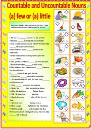 COUNTABLE AND UNCOUNTABLE NOUNS - A FEW OR A LITTLE (B/W VERSION AND ANSWER KEY)