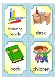 English Worksheets: At school - flashcards part 1