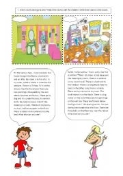 English Worksheets: Our Room (There is / There are)