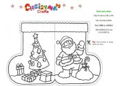 english worksheet christmas craft 1 stocking shaped card for a letter to santa