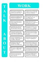 English Worksheet: Work - 18 conversation cards (editable)