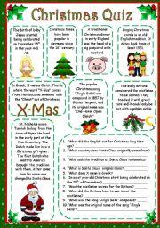 english worksheet christmas quiz - Christmas Trivia Facts