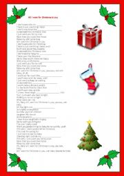 Lyrics All I Want For Christmas.All I Want For Christmas Is You Esl Worksheet By Belocas