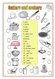 English Worksheet: 2 pages 3 exercises CUTLERY and CROCKERY