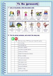 English Worksheet: To Be - present