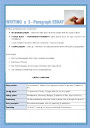 English Worksheets: WRITING A 3-PARAGRAPH ESSAY