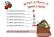 English Worksheets: What is there in Santa�s sack?