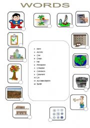 English Worksheets: words