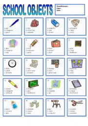 english worksheets school objects. Black Bedroom Furniture Sets. Home Design Ideas