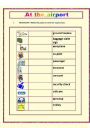 English Worksheet: AIRPORT VOCABULARY -  2 pages WS + key (reupload)