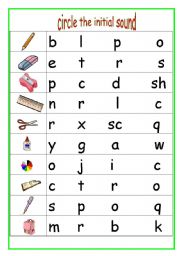 English teaching worksheets: Initial sounds