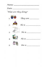 English worksheet: ACTIONS IN THE HOUSE