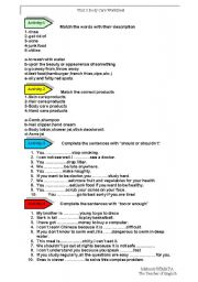 English Worksheets: Body care