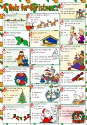 English Worksheet: A QUIZ FOR CHRISTMAS...