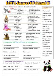 English Worksheets: Grammar  and vocabulary practice for beginners - 2 pages-10 exercises