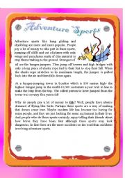 English Worksheet: Reading - Adventure Sports