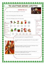 English Worksheet: the nightmare before christmas (chapter 2)