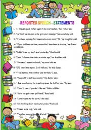 English worksheet: Reported Speech Statements