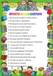 English worksheet: Reported Speech Questions