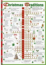 English Worksheet: Christmas traditions crossword