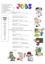 English Worksheets: jobs song - fill in the blanks activity
