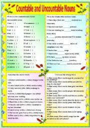 English Worksheets: COUNTABLE AND UNCOUNTABLE NOUNS - (B/W VERSION AND ANSWER KEY)