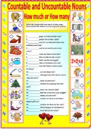 English Worksheet: COUNTABLE AND UNCOUNTABLE NOUNS - HOW MUCH OR HOW MANY (B/W VERSION AND ANSWER KEY)