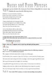 English Worksheet: Nouns and Noun Phrases