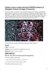 Video Comprehension. Interesting facts, Human Castles