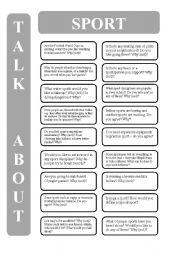 English Worksheet: Sport - 18 conversation cards (editable)