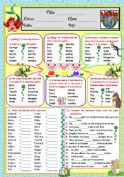 English Worksheet: Plural Nouns (*B&W included*)