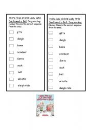 English Worksheet: There was an Old Lady who Swallowed a Fly after reading worksheet