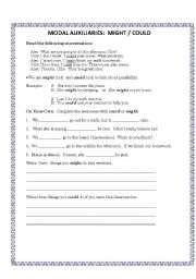 English Worksheets: Might or Could?