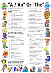 "English Worksheet: Exercises on ARTICLES ""A"", ""AN"" & ""THE"" (Editable with Key)"