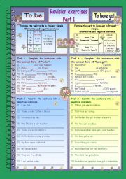 English Worksheet: To be and to have got revision * Part 1 * 3 pages * 10 exercises * with key