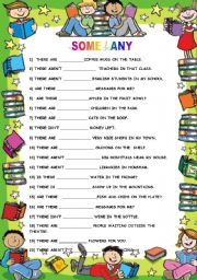 English worksheet: SOME / ANY