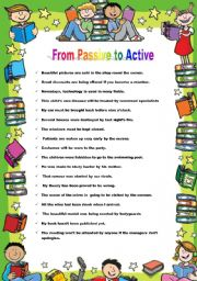 English worksheet: From Passive to Active