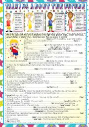 English worksheet: TALKING ABOUT THE FUTURE ( PRESENT SIMPLE-PRESENT CONTINUOUS-GOING TO- SIMPLE FUTURE (KEY INCLUDED)