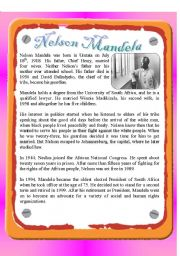 English Worksheet: Reading - Nelson Mandela
