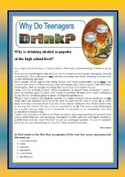English Worksheet: Why do teenagers drink?